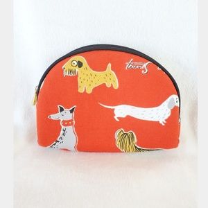 Tammis Keefe Dog Print Red Makeup Cosmetic Zip Bag